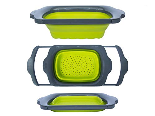 Comfify CM201523 Collapsible-Green and Grey Over the Sink Colander