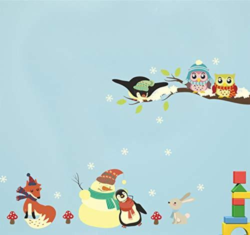 bonhomme de neige pingouin chouettes branches stickers muraux chambre décor à la maison animaux de dessin animé stickers muraux diy affiche pvc murale art 30x90cm