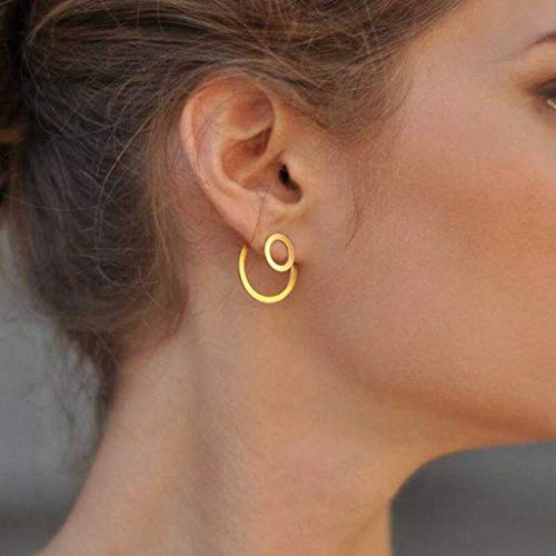 JOVONO Fashion Ohrringe mit Legierung einfache 2 Kreise hinten Ohrringe für Damen und Mädchen
