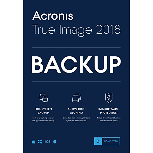 Acronis True Image 2018-3 Computer Backup Software (3-Users)