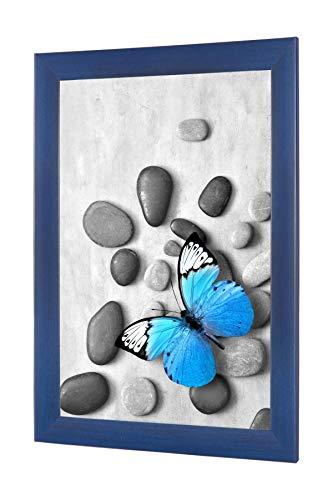 OlimpJOY Bilderrahmen 100 x 70 cm Dunkelblau gewischt 35mm MDF Leiste mit Antireflex-Acrylglas