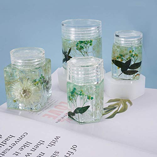 4pcs DIY Crystal Epoxy Resin Mold Bottle Storage Bottle Storage Sealed Jar with Lid Storage Silicone Mold