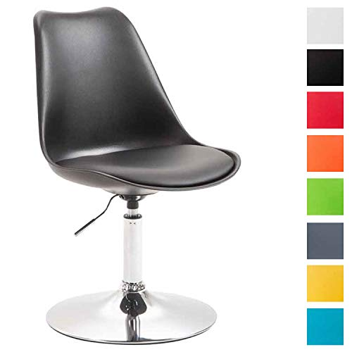 CLP Chaise de Salle à Manger Maverick Plastique/Similicuir - Chaise Design Retro Hauteur Réglable - Fauteuil Confortable Pieds en Métal - Couleur : Noir, Chrome