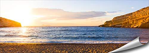 ARTBAY Meer Poster HD XXL - Panorama Kunstdruck - 118,8 x 42 cm | Sonnenuntergang |Strand | Griechenland |Kreta | Natur Bilder | Premium Qualität