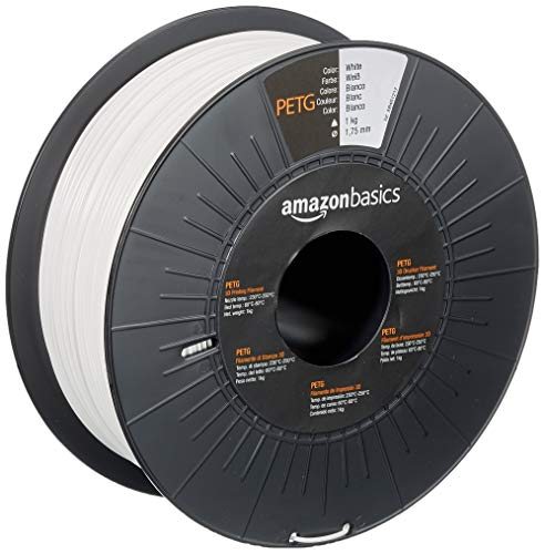 Amazon Basics - Filamento per stampanti 3D, in PETG, 1,75 mm, bianco, 1 kg per bobina