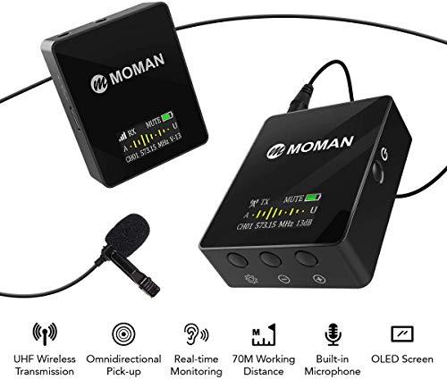 Moman Connects C1 UHF-Microfono-Lavalier-Wireless-Sistema 36 Canali per DSLR Fotocamera, Smartphone e Videocamera, Gamma di Trasmissione di 70m/229.66ft