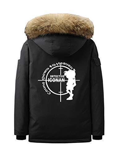 WANHONGYUE Anime Case Closed Detective Conan Parka Winterjacke Mantel Cosplay Kostüm Kapuzenpullover Sweatshirt Coat Strickjacken Schwarz/1 L
