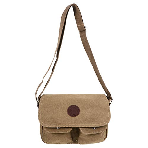 PRETYZOOM Vintage Canvas Bag Men Messenger Bag Computer Laptop Bag Retro Satchel Shoulder Bag Crossbody Bag Sling Bag Briefcase Casual Bag for Collage Travel Work Khaki