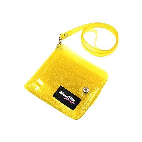 Transparent Women Purse PVC Clear Jelly Bag Mini Money Wallet Card Holder Clear wallet ladies purse wallet Jelly Card Holder-Yellow