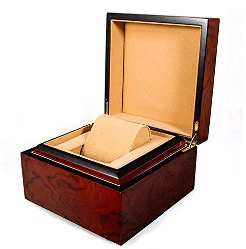 LKAIBIN Caja de reloj de madera caja de regalo caja de regalo de una sola rejilla para joyas, cajas de almacenamiento y almohadas de almacenamiento extraíbles.