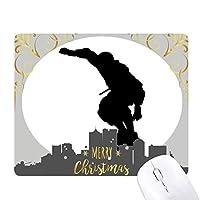 スポーツ選手のジャンプのローラースケート クリスマスイブのゴムマウスパッド