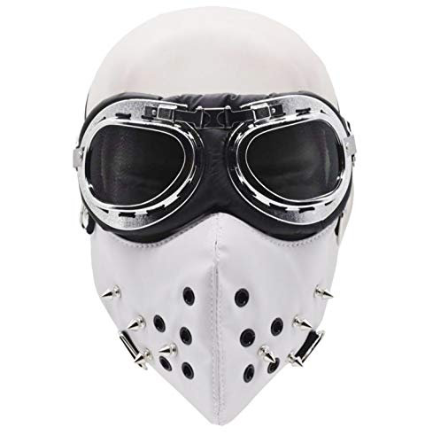 Half Face Mask and Goggles Glasses for Halloween Costume Cosplay Motorcycle Biker (White)