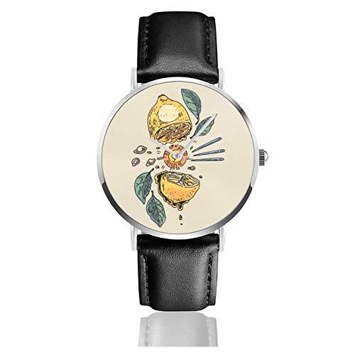 Relojes Anolog Negocio Cuarzo Cuero de PU Amable Relojes de Pulsera Wrist Watches Regate de limón