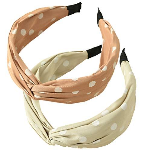 PIXNOR 2 Pcs Femmes Headwrap Top Noeud Bandeau Dot Cheveux Cerceau Large Élastique Extensible Coiffure pour Femmes Cheveux Accessoires
