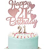 Happy 21st Birthday Cake Topper, Rose Gold 21st Birthday Cake Topper, 21st Birthday Cake Topper with Number 21 Candles for Girl 21st Birthday Party Decorations