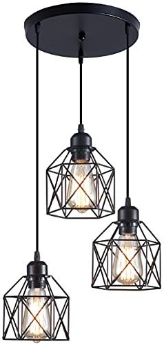 ZHU YAN 3-Light Semi-Flush Mount Ceiling Light, Iron Mesh Farmhouse Pendant Lighting Kitchen Island Light Fixture, Black (Iron Mesh)