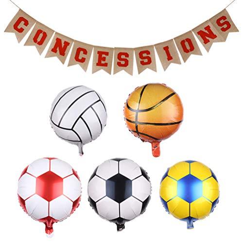 Amosfun 1 juego de banderines temáticos deportivos, de baloncesto, fútbol, globos, arpillera, guirnalda para deportes, voleibol, fiestas, decoración de pared.