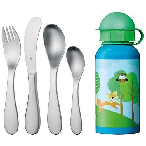 WMF Knuddel Kinderbesteck, 5-teilig, mit Trinkflasche, ab 3 Jahren, Cromargan Edelstahl poliert, spülmaschinengeeignet, farb- und lebensmittelecht