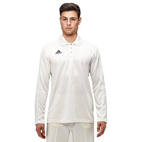 adidas Long Sleeve Mens Cricket Whites Shirt Top Jersey White - L