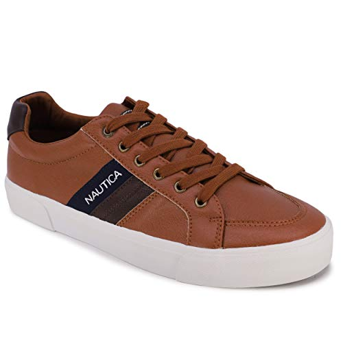 Nautica Men's Garrison Fashion Sneaker, Classic Low Top Loafer, Casual Lace-Up Shoe-Garrison-Tan-8.5