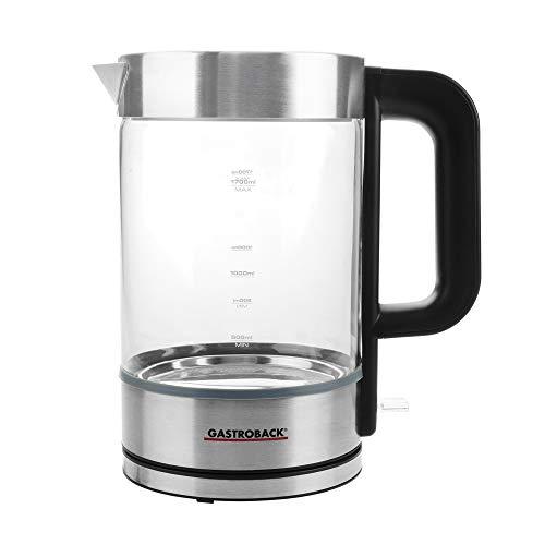 GASTROBACK #42442 Design Glaswasserkocher Basic, großer Glas-Behälter mit 1,7 Liter Volumen und Füllstandsanzeige, 3.000 Watt max.