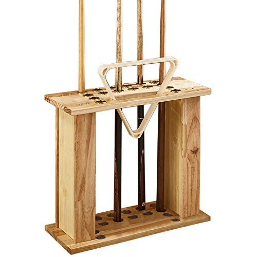 WXZX Cue Rack -Queueständer,Massivholz,Queue Pool Rack,hält Bis 16 Billiard Cue,Billard-Queue-Halter,Billiard Raum,Bar,Stadion Billard Zubehör 60x24x53cm