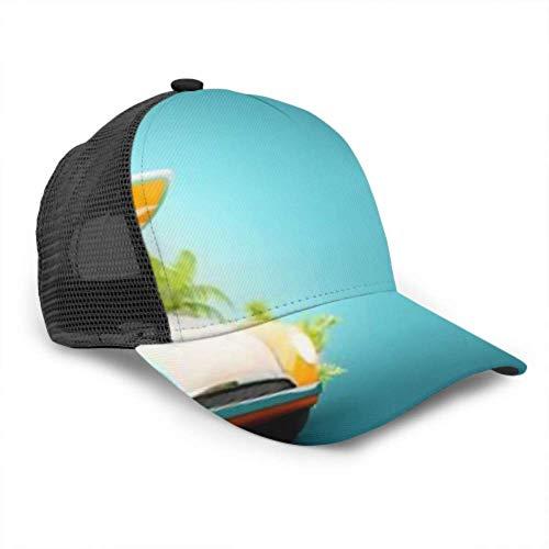 Gorra de béisbol Hombres Mujeres, Divertido Retro Coche Tabla de Surf Maletas Palmas Ajustable Trucker Mesh Verano Ventilado Béisbol Sombrero de Sol Sombrero de papá Sombrero de papá