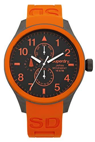 Superdry SYG110O - Reloj analógico de Cuarzo para Hombre, Correa de Silicona Color Naranja