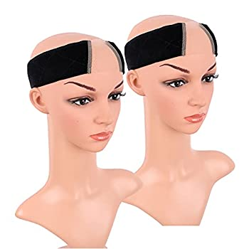 MapofBeauty 2 Pack Wig Grip Headband Lace Wig Band No Slip Velvet Band Adjustable Flexible Head Hair Band  Black