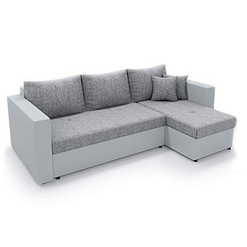 VitaliSpa Ecksofa mit Schlaffunktion Grau Weiß - Stellmaß: 224 x 144 cm Liegemaß: 200 x 140 cm - Sofa Couch Schlafcouch Dreisitzer Schlafsofa Eckcouch Taschenfederkern