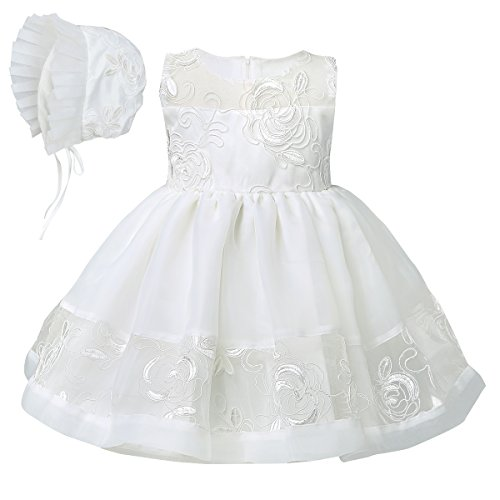 YiZYiF Baby Girls Embroidered Christening Baptism Dress Formal Party Gowns with Hat 24 Months, Ivory