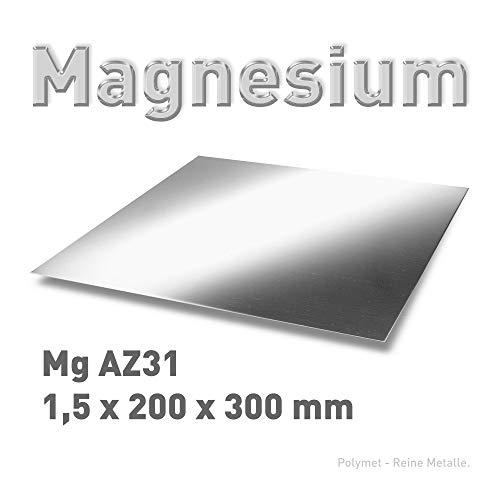 Magnesium-Blech 1,5 x 200 x 300 mm, Magnesiumplatte (20 x 30 cm), Platte