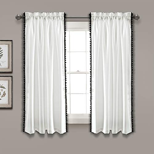 "Lush Decor, Black Pom Curtain | Textured, Solid Color Shabby Chic Style Window Panel for Living, Dining Room, Bedroom (Single), 63"" x 50 White, 63"" x 50"""