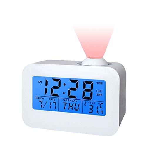 ALEENFOON Digital Projektionswecker mit Temperaturanzeige Kinder Elektronischer Sprachsteuerung Stiller Wecker Ohne Ticken am Bett mit Projektion Projektor Batteriebetrieben Kinderwecker, Weiss
