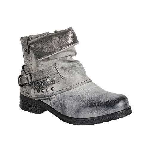 Elara Damen Stiefeletten Biker Boots mit Nieten Chunkyrayan 1060-PA Grey-36