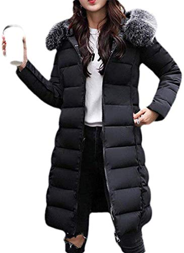 CHEXPEL Women's Coat Hooded Fashion Thicken Long Cotton-Filling Down Puffer Jacket
