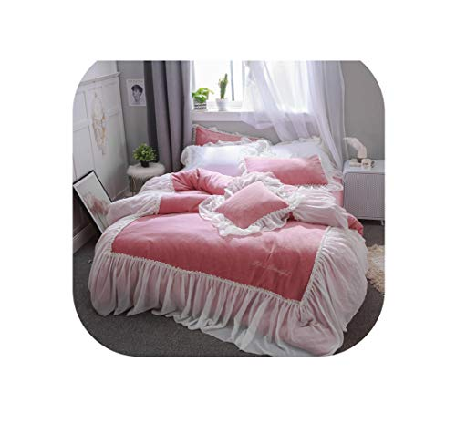 DAWN&ROSE Bedding Set winter thick Fleece fabric king queen size Linens Duvet Covers Pillowcases princess Bed Covers,1,King size 4pcs