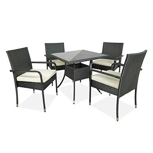 LXH-SH Furniture Garden Furniture Outdoor Table Chair Hammock Chair Five PCS Cushioned Outdoor Wicker Patio Set Garden Lawn Rattan Sofa Furniture Conversation Set household products