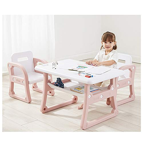 Sallymonday Kids Study Table and 2 Chairs Set, Children Activity Art Desk with Storage Rack for Read, Activity Toddler Furniture Gift for 1-8 Years Old Boys & Girls (Pink)