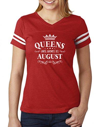 Camiseta feminina de jérsei de futebol americano Queens are Born in August, Vermelho/branco., XXL
