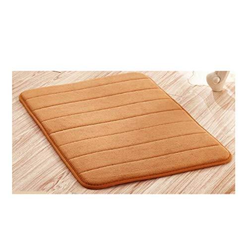 LALANG Memory Foam Soft Comfortable Bathroom Floor Rug Absorbent Non-Slip Sponge Bath Mat Kitchen Stripes Carpet(Khaki)