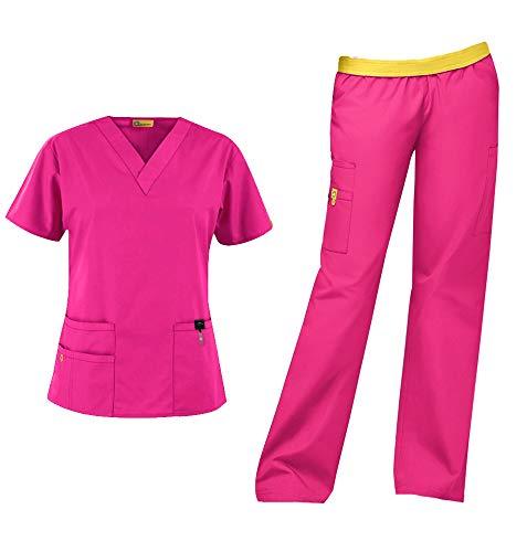 WonderWink Origins Women's Medical Uniforms Scrubs Set Bundle- 6016 Bravo V-Neck Scrub Top & 5016 Quebec Elastic Cargo Scrub Pants & MS Badge Reel (Hot Pink - X-Large - X-Large)