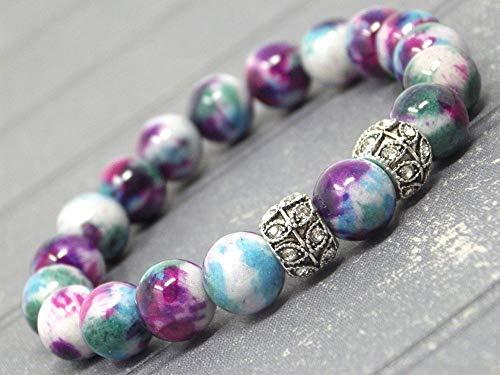 Pulsera para mujer en perlas naturales de jade morado, azul y blanco y perlas centrales con cristales