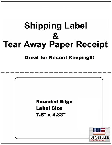 ProLine Compatible Labels for Click Ship PayPal/Ebay USPS Labels with Paper Receipts for Laser/Ink Jet Shipping! Built in Tear Off Receipts! (Integrated Labels) (100 Sheets)