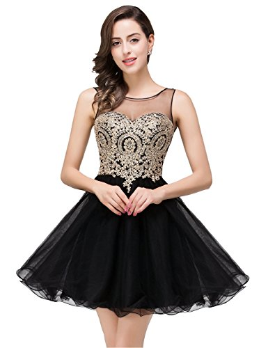 MisShow Vintage Homecoming Dresses For Juniors Sleeveless Formal Prom Party Dress, 362#black, 2