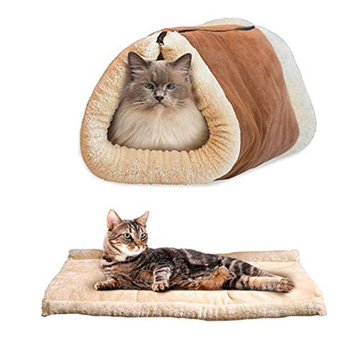 Srogem Cat Bed Cave House Bed - Beds Best for Indoor Cats Houses Heated Kitten Warm Pet Self Warming Cotton Cave - 2-in-1 Pure Cotton Tunnel Tube & Kitty Mat Pad