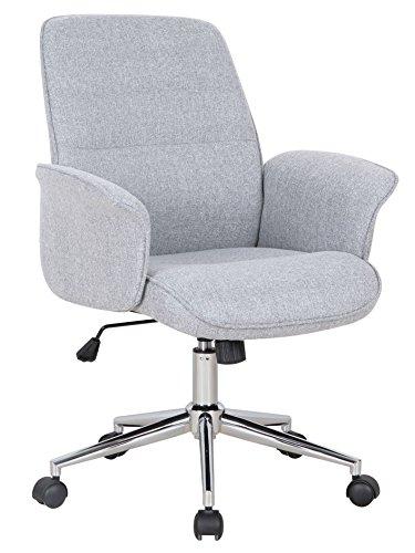 SixBros. Bürostuhl, Schreibtischstuhl mit Armlehne und niedriger Rückenlehne, Drehstuhl stufenlos höhenverstellbar, Sitzbezug aus Stoff, grau 0704M/2488