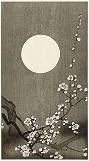Imagekind Japanese Wooblock Poster Print Entitled, Plum Blossom Under a Full Moon by Ohara Koson