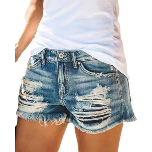 Pantalones Cortos de Mezclilla para Mujer Moda Verano Europeo y Americano Tendencia de Cintura Alta Pantalones Cortos de Mezclilla Rasgados con Personalidad con Flecos S