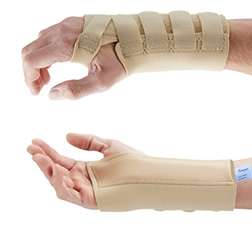 Actesso Neopren Handgelenkschiene - Schiene bei Karpaltunnelsyndrom, Verstauchungen, Handgelenksfrakturen und Sehnenentzündungen/Sehnenscheidenentzündungen (Klein, Beige Links)